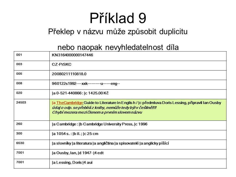 Příklad 9 Překlep v názvu může způsobit duplicitu nebo naopak nevyhledatelnost díla 001 KN3164000000147446 003 CZ-PrSKC 005 20080211110818.0 008 96012