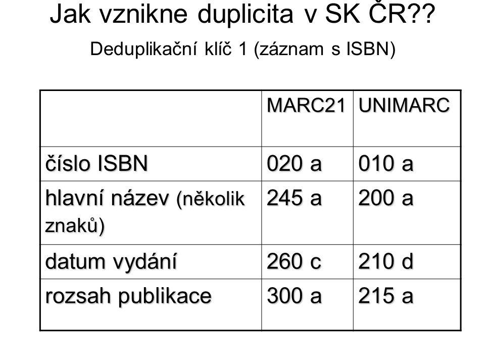 Jak vznikne duplicita v SK ČR?? Deduplikační klíč 1 (záznam s ISBN) MARC21UNIMARC číslo ISBN 020 a 010 a hlavní název (několik znaků) 245 a 200 a datu
