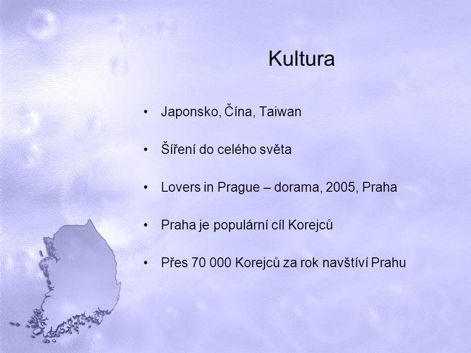 Kultura Japonsko, Čína, Taiwan Šíření do celého světa Lovers in Prague – dorama, 2005, Praha Praha je populární cíl Korejců Přes 70 000 Korejců za rok navštíví Prahu