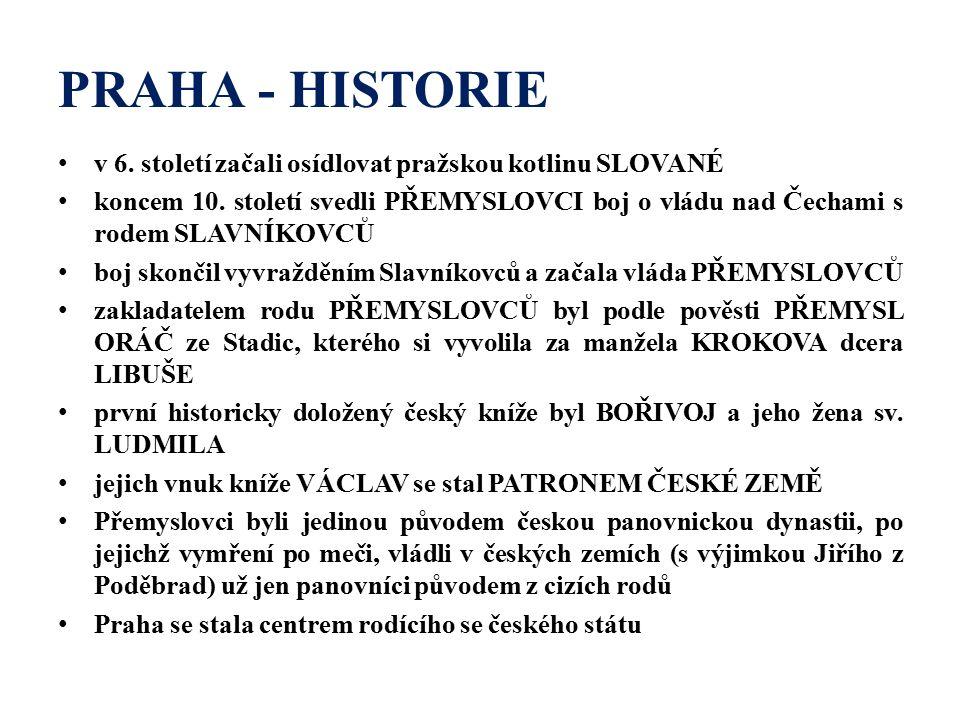 PRAHA - HISTORIE v 6. století začali osídlovat pražskou kotlinu SLOVANÉ koncem 10.