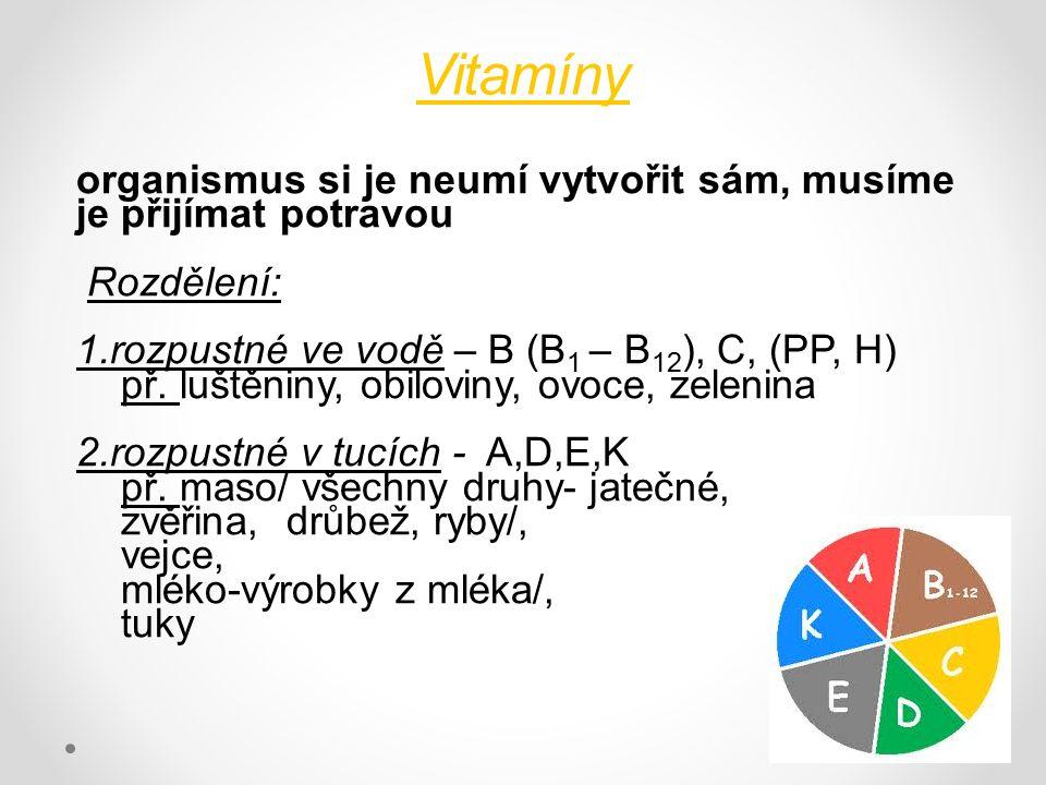 Vitamíny organismus si je neumí vytvořit sám, musíme je přijímat potravou Rozdělení: 1.rozpustné ve vodě – B (B 1 – B 12 ), C, (PP, H) př. luštěniny,