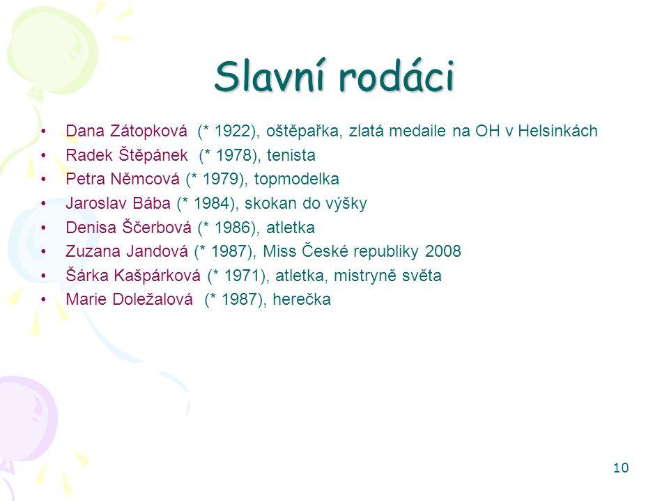 10 Slavní rodáci Dana Zátopková (* 1922), oštěpařka, zlatá medaile na OH v Helsinkách Radek Štěpánek (* 1978), tenista Petra Němcová (* 1979), topmodelka Jaroslav Bába (* 1984), skokan do výšky Denisa Ščerbová (* 1986), atletka Zuzana Jandová (* 1987), Miss České republiky 2008 Šárka Kašpárková (* 1971), atletka, mistryně světa Marie Doležalová (* 1987), herečka