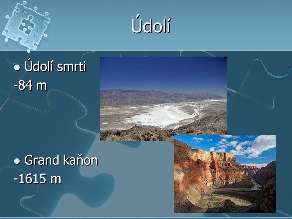Údolí Údolí smrti -84 m Grand kaňon -1615 m Údolí smrti -84 m Grand kaňon -1615 m