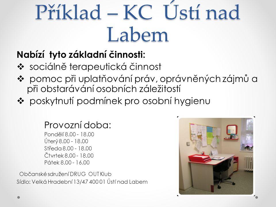 Příklad – KC Ústí nad Labem Nabízí tyto základní činnosti:  sociálně terapeutická činnost  pomoc při uplatňování práv, oprávněných zájmů a při obstarávání osobních záležitostí  poskytnutí podmínek pro osobní hygienu Provozní doba: Pondělí 8.00 - 18.00 Úterý 8.00 - 18.00 Středa 8.00 - 18.00 Čtvrtek 8.00 - 18.00 Pátek 8.00 - 16.00 Občanské sdružení DRUG OUT Klub Sídlo: Velká Hradební 13/47 400 01 Ústí nad Labem