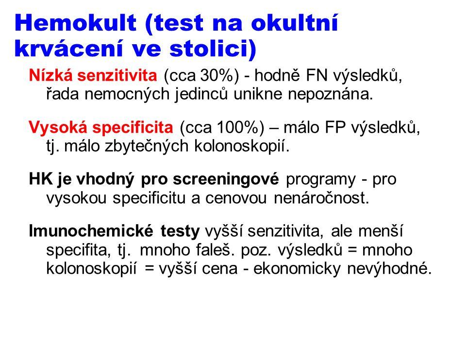 Hemokult (test na okultní krvácení ve stolici) Nízká senzitivita (cca 30%) - hodně FN výsledků, řada nemocných jedinců unikne nepoznána.