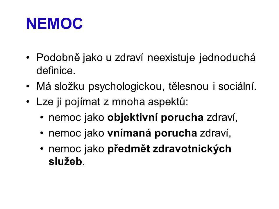 NEMOC Podobně jako u zdraví neexistuje jednoduchá definice.