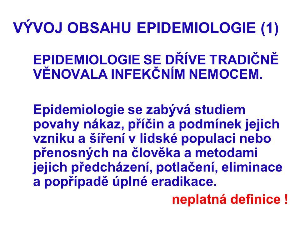 VÝVOJ OBSAHU EPIDEMIOLOGIE (1) EPIDEMIOLOGIE SE DŘÍVE TRADIČNĚ VĚNOVALA INFEKČNÍM NEMOCEM.