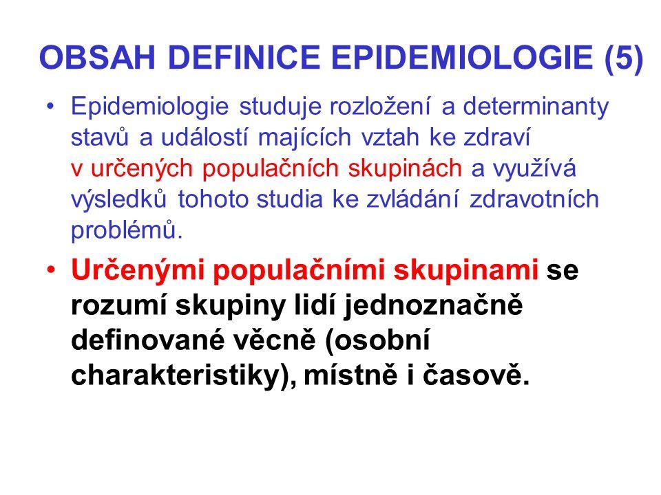 OBSAH DEFINICE EPIDEMIOLOGIE (5) Epidemiologie studuje rozložení a determinanty stavů a událostí majících vztah ke zdraví v určených populačních skupinách a využívá výsledků tohoto studia ke zvládání zdravotních problémů.