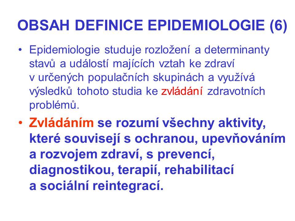 OBSAH DEFINICE EPIDEMIOLOGIE (6) Epidemiologie studuje rozložení a determinanty stavů a událostí majících vztah ke zdraví v určených populačních skupinách a využívá výsledků tohoto studia ke zvládání zdravotních problémů.