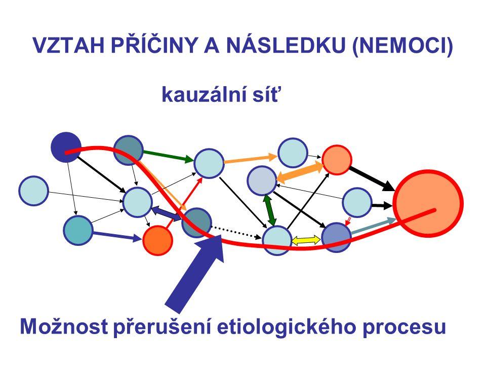 VZTAH PŘÍČINY A NÁSLEDKU (NEMOCI) kauzální síť Možnost přerušení etiologického procesu