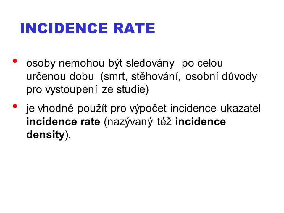 INCIDENCE RATE osoby nemohou být sledovány po celou určenou dobu (smrt, stěhování, osobní důvody pro vystoupení ze studie) je vhodné použít pro výpočet incidence ukazatel incidence rate (nazývaný též incidence density).