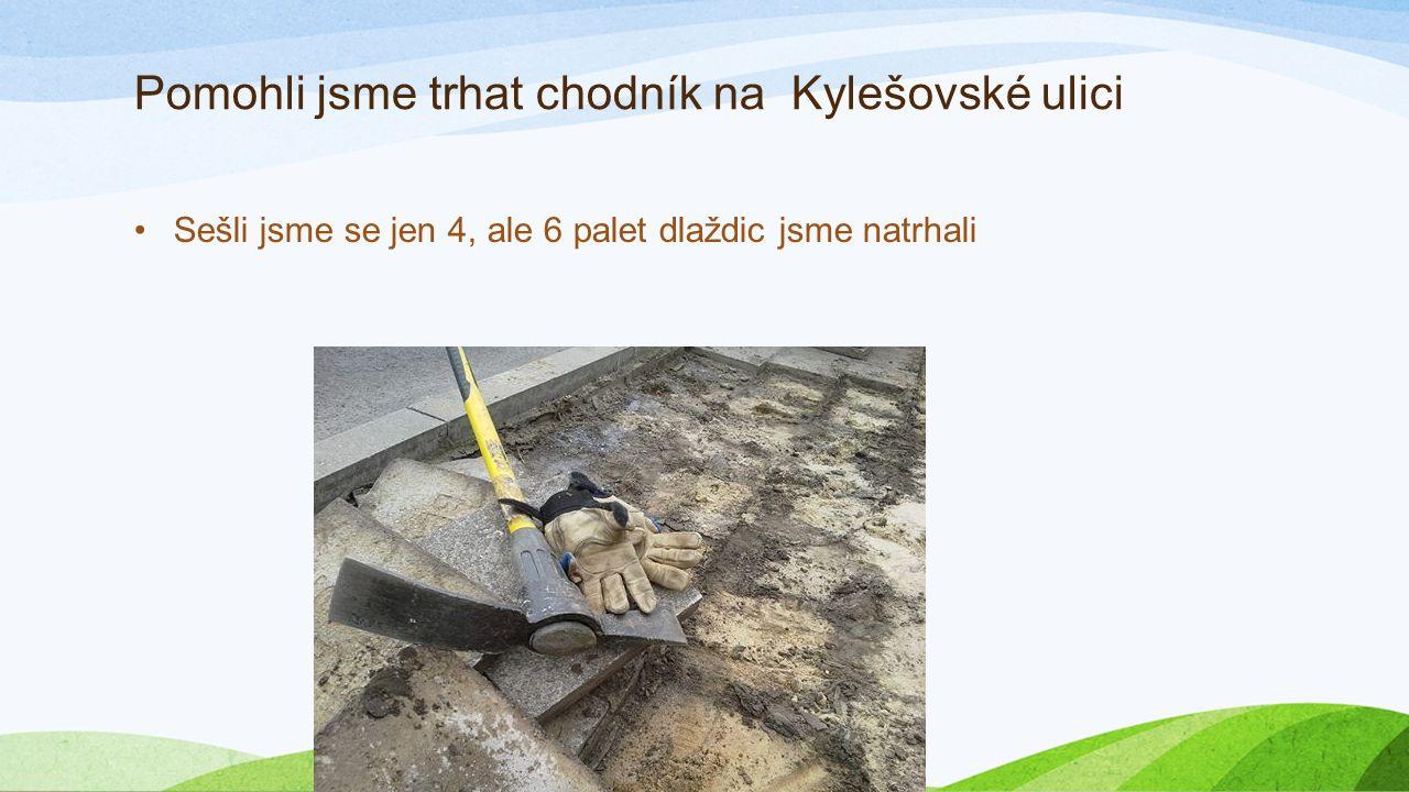 Pomohli jsme trhat chodník na Kylešovské ulici Sešli jsme se jen 4, ale 6 palet dlaždic jsme natrhali