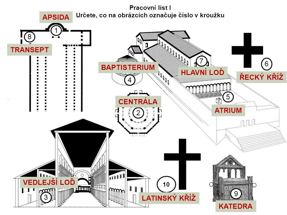 7 5 4 1 8 9 6 10 Pracovní list I Určete, co na obrázcích označuje číslo v kroužku 3 2 APSIDA TRANSEPT HLAVNÍ LOĎ BAPTISTERIUM ATRIUM CENTRÁLA LATINSKÝ KŘÍŽ VEDLEJŠÍ LOĎ ŘECKÝ KŘÍŽ KATEDRA