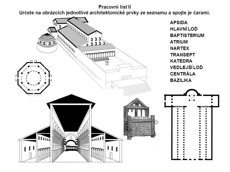 APSIDA HLAVNÍ LOĎ BAPTISTERIUM ATRIUM NARTEX TRANSEPT KATEDRA VEDLEJŠÍ LOĎ CENTRÁLA BAZILIKA Pracovní list II Určete na obrázcích jednotlivé architektonické prvky ze seznamu a spojte je čarami.