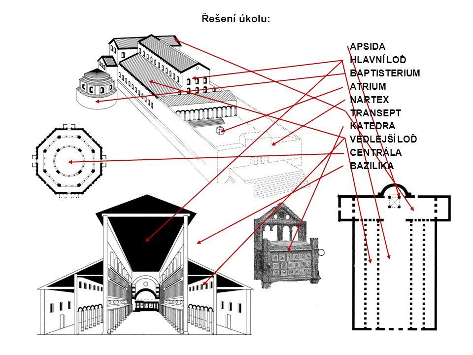 Řešení úkolu: APSIDA HLAVNÍ LOĎ BAPTISTERIUM ATRIUM NARTEX TRANSEPT KATEDRA VEDLEJŠÍ LOĎ CENTRÁLA BAZILIKA