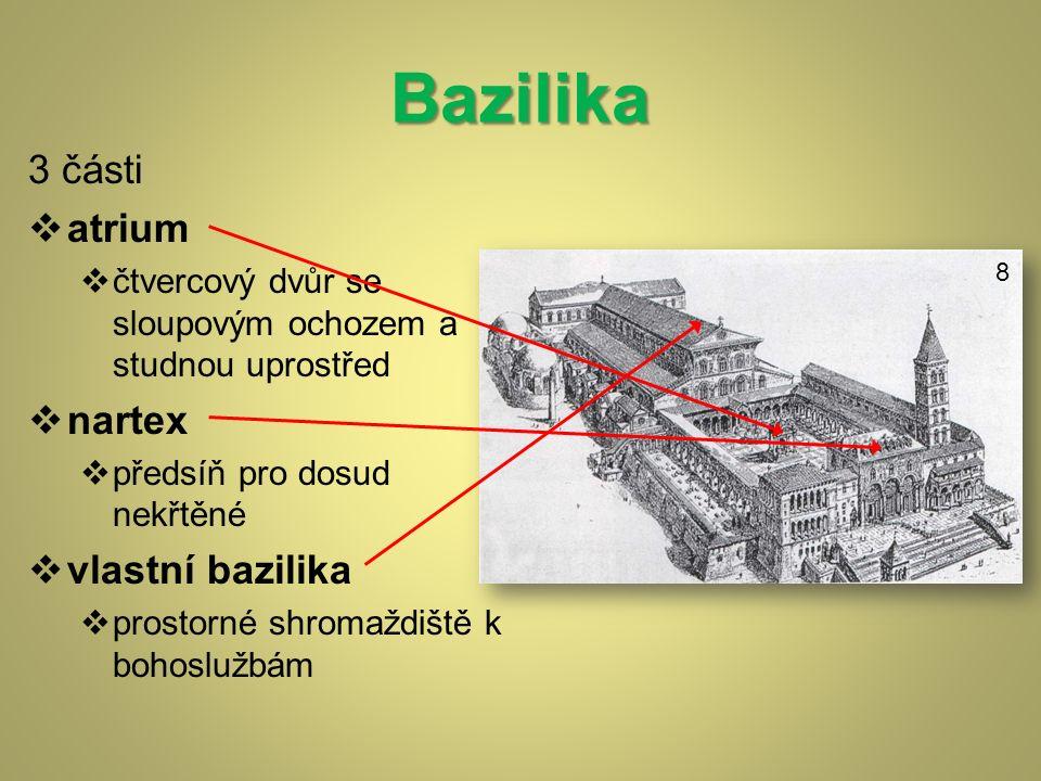 8 Bazilika 3 části  atrium  čtvercový dvůr se sloupovým ochozem a studnou uprostřed  nartex  předsíň pro dosud nekřtěné  vlastní bazilika  prostorné shromaždiště k bohoslužbám