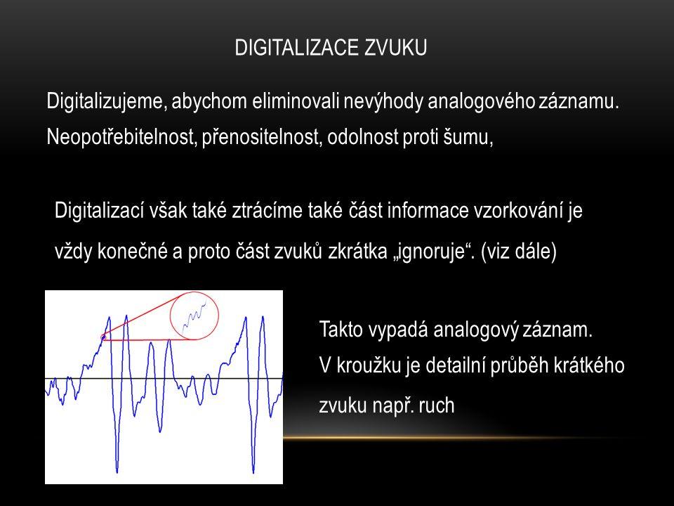 DIGITALIZACE ZVUKU Digitalizace se skládá ze dvou kroků 1, Spojitý signál se nejprve vzorkuje, to jest stanoví jeho velikost v pravidelných časových intervalech Vzorky jsou znázorněny červenou tečkou Velikost vyjadřuje červená spojnice s bodem