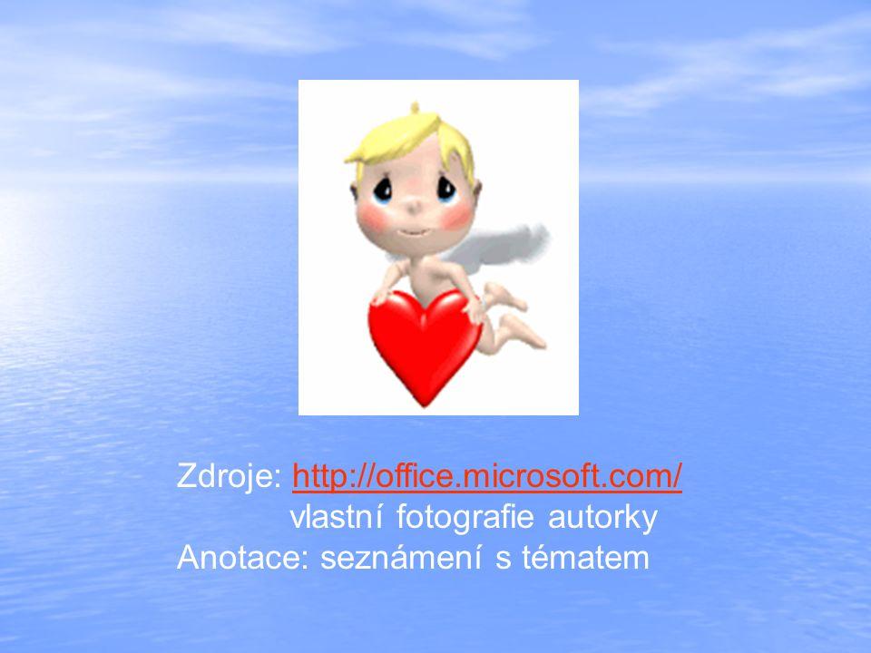 Zdroje: http://office.microsoft.com/http://office.microsoft.com/ vlastní fotografie autorky Anotace: seznámení s tématem