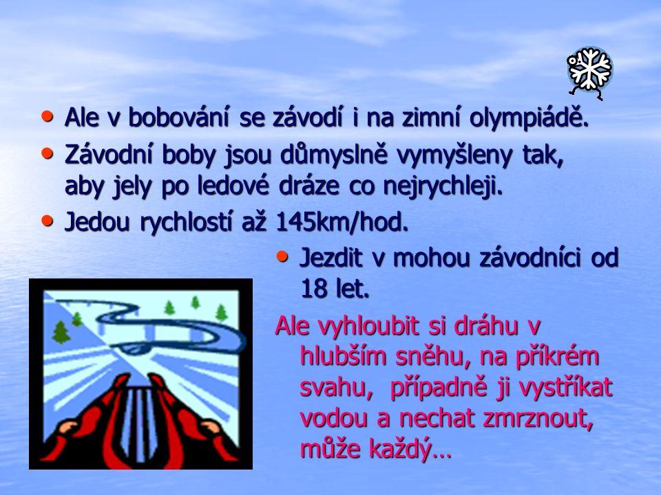 Ale v bobování se závodí i na zimní olympiádě. Ale v bobování se závodí i na zimní olympiádě.