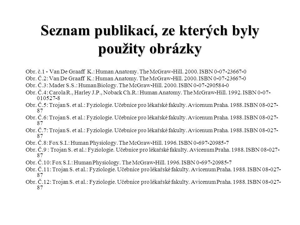 Seznam publikací, ze kterých byly použity obrázky Obr. č.1 - Van De Graaff K.: Human Anatomy. The McGraw-Hill. 2000. ISBN 0-07-23667-0 Obr. Č.2: Van D