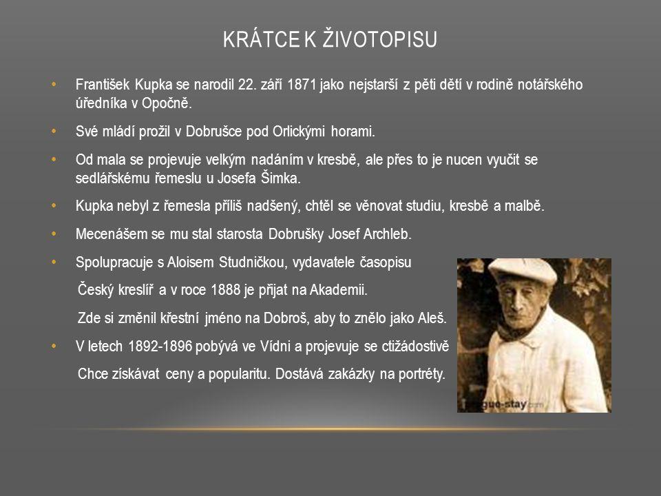 KRÁTCE K ŽIVOTOPISU František Kupka se narodil 22. září 1871 jako nejstarší z pěti dětí v rodině notářského úředníka v Opočně. Své mládí prožil v Dobr