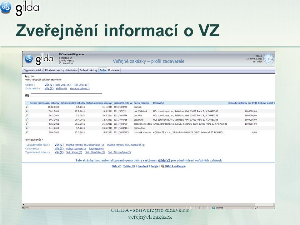 GILDA - software pro zadavatele veřejných zakázek Zveřejnění informací o VZ
