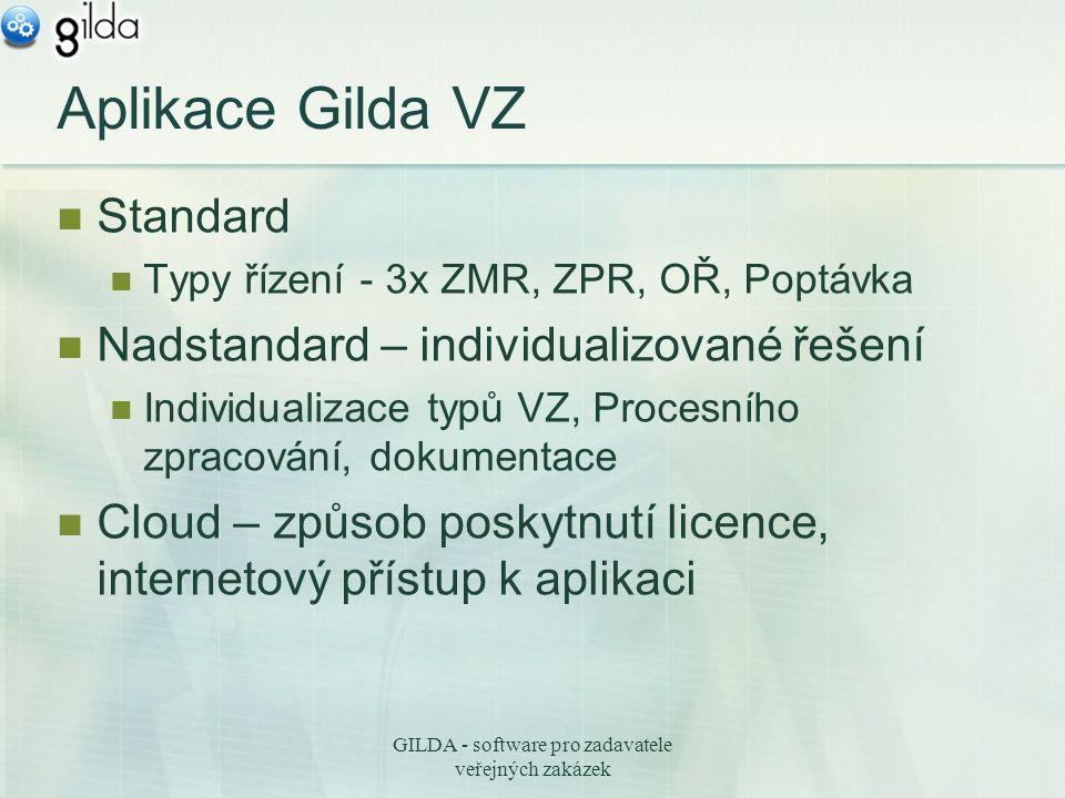 GILDA - software pro zadavatele veřejných zakázek Aplikace Gilda VZ Standard Typy řízení - 3x ZMR, ZPR, OŘ, Poptávka Nadstandard – individualizované řešení Individualizace typů VZ, Procesního zpracování, dokumentace Cloud – způsob poskytnutí licence, internetový přístup k aplikaci