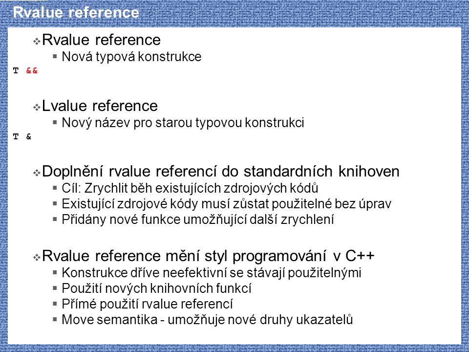 Rvalue reference  Rvalue reference  Jasná motivace  Odstranění nadbytečných kopírování  Srozumitelný způsob použití  Kanonické tvary tříd  Nové knihovní funkce  Složitá definice  lvalue, xvalue, prvalue, glvalue, rvalue  reference collapsing rules  Nedozírné následky  Princip navržen v r.
