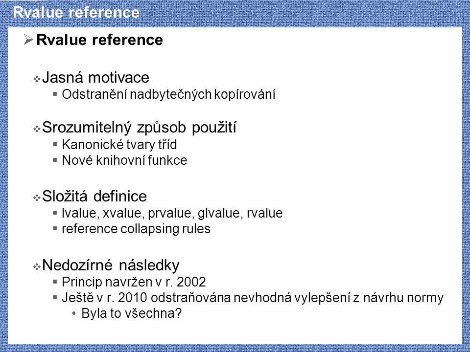Využití neekvivalence typů template class Value { typename P::T v; //...