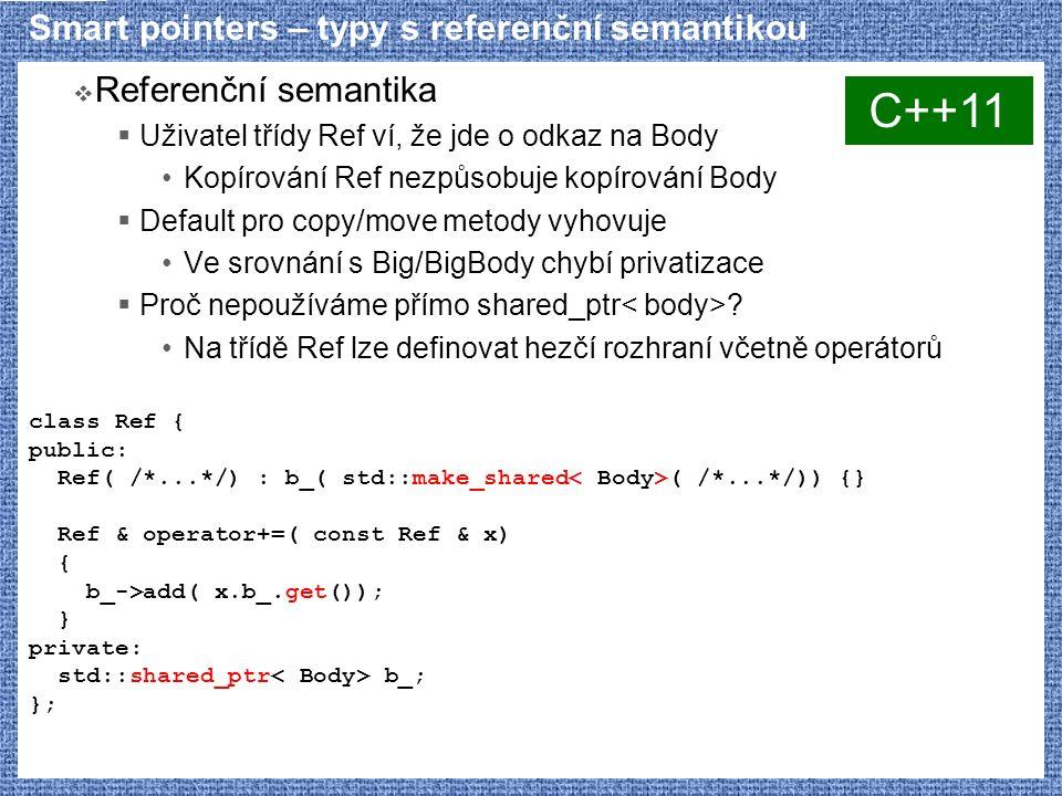 Smart pointers – typy s referenční semantikou  Referenční semantika  Uživatel třídy Ref ví, že jde o odkaz na Body Kopírování Ref nezpůsobuje kopírování Body  Default pro copy/move metody vyhovuje Ve srovnání s Big/BigBody chybí privatizace  Proč nepoužíváme přímo shared_ptr .