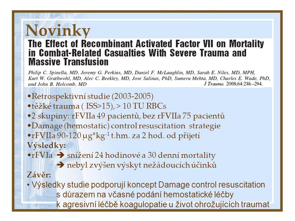 Novinky Retrospektivní studie (2003-2005) těžké trauma ( ISS>15), > 10 TU RBCs 2 skupiny: rFVIIa 49 pacientů, bez rFVIIa 75 pacientů Damage (hemostatic) control resuscitation strategie rFVIIa 90-120 μg*kg -1 t.hm.