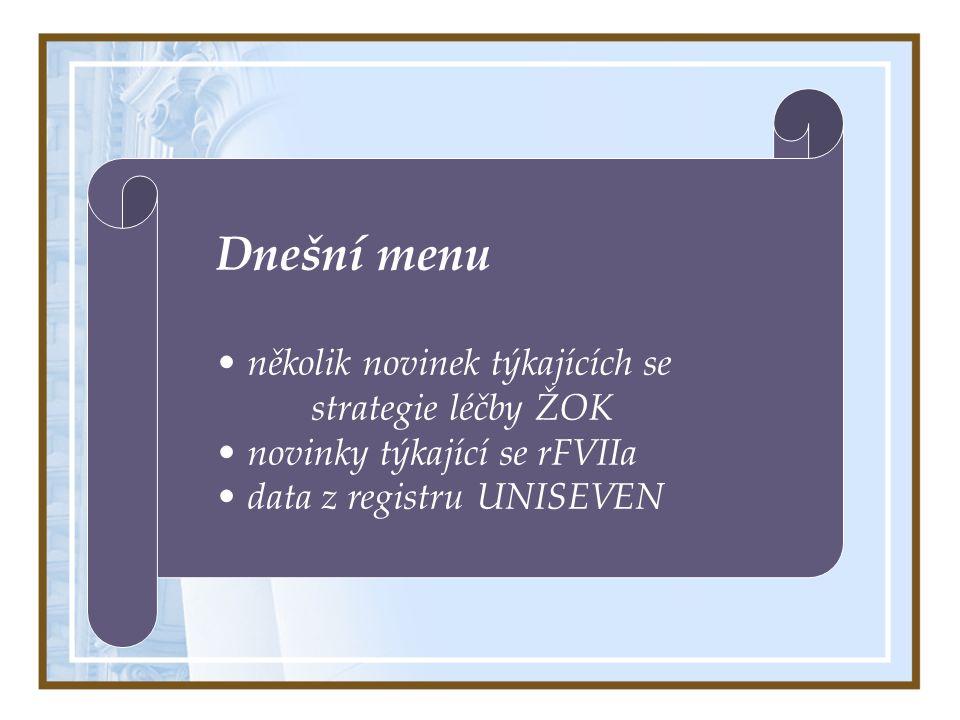 Dnešní menu několik novinek týkajících se strategie léčby ŽOK novinky týkající se rFVIIa data z registru UNISEVEN