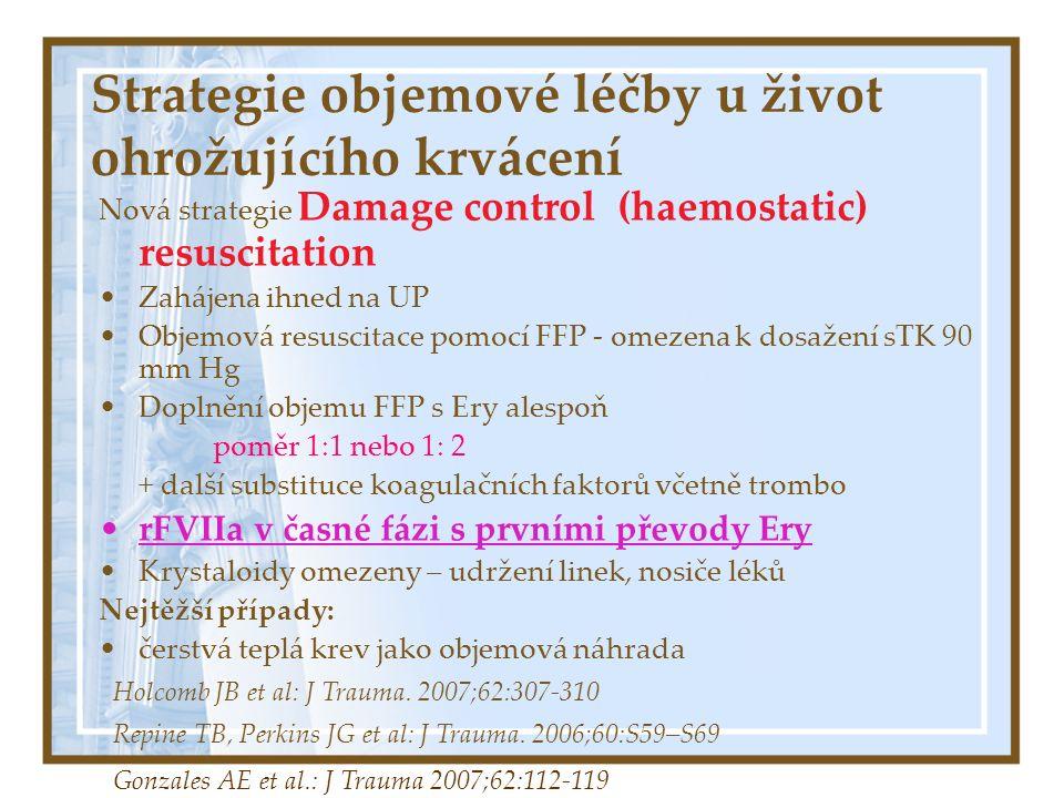Strategie objemové léčby u život ohrožujícího krvácení Nová strategie Damage control resuscitation Výsledky: není koagulopatické krvácení možnost lepšího ošetření chirurgických zdrojů krvácení Při přijetí na ICU  zahřátí, euvolemičtí, bez acidózy, normální hemokoagulace Kratší doba UPV Snížení mortality Holcomb JB et al: J Trauma.