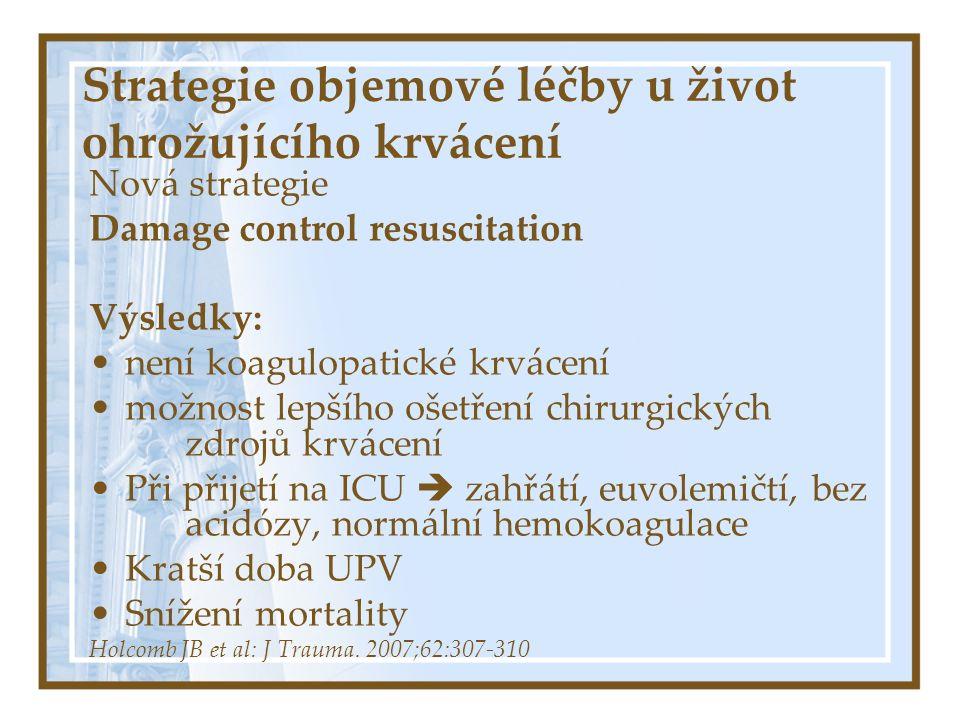 Strategie objemové léčby u život ohrožujícího krvácení Nová strategie Damage control resuscitation Výsledky: Formulovat novou hypotézu?.