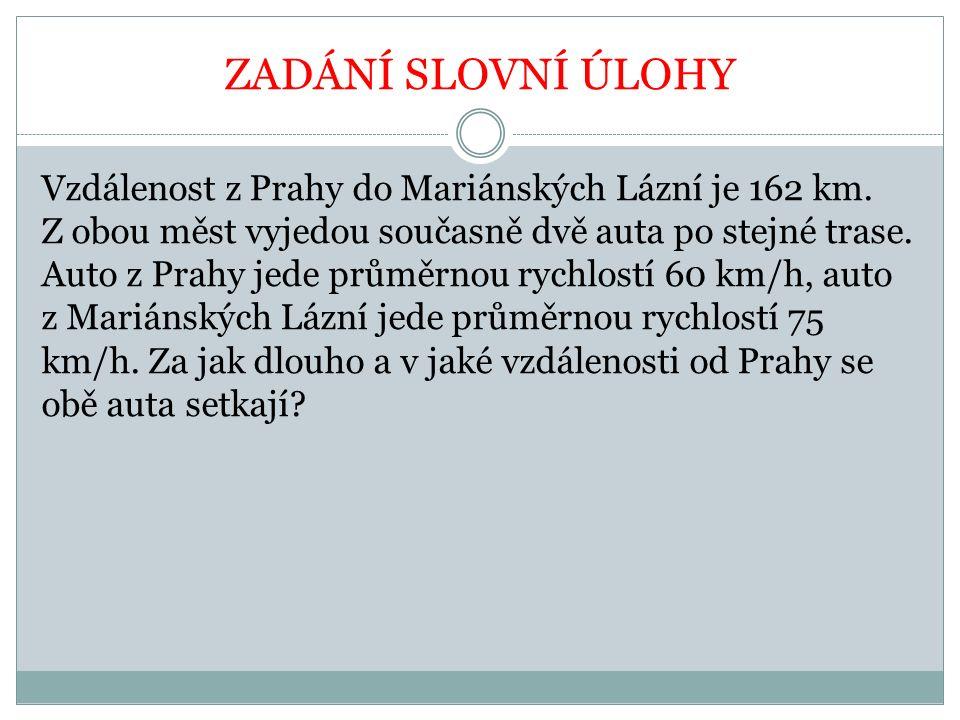 ZADÁNÍ SLOVNÍ ÚLOHY Vzdálenost z Prahy do Mariánských Lázní je 162 km.