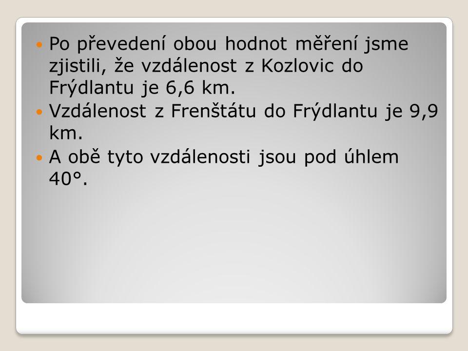 Po převedení obou hodnot měření jsme zjistili, že vzdálenost z Kozlovic do Frýdlantu je 6,6 km. Vzdálenost z Frenštátu do Frýdlantu je 9,9 km. A obě t