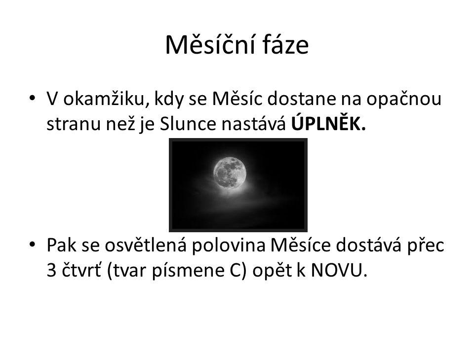 Měsíční fáze V okamžiku, kdy se Měsíc dostane na opačnou stranu než je Slunce nastává ÚPLNĚK.
