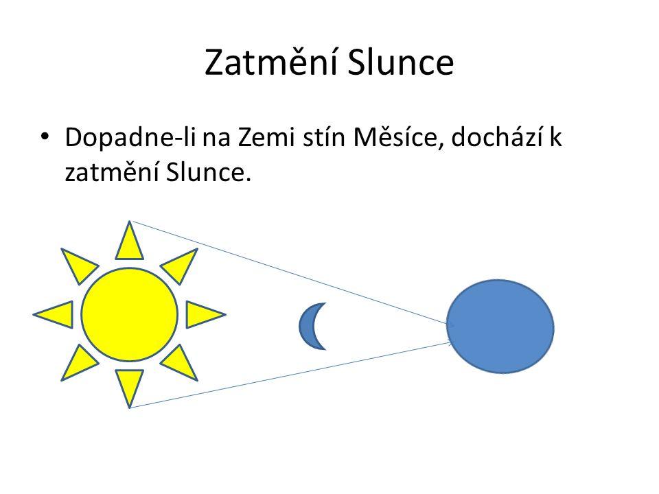 Zatmění Slunce Dopadne-li na Zemi stín Měsíce, dochází k zatmění Slunce.