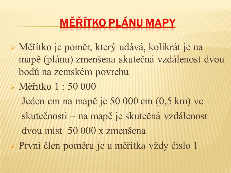  Měřítko je poměr, který udává, kolikrát je na mapě (plánu) zmenšena skutečná vzdálenost dvou bodů na zemském povrchu  Měřítko 1 : 50 000 Jeden cm na mapě je 50 000 cm (0,5 km) ve skutečnosti – na mapě je skutečná vzdálenost dvou míst 50 000 x zmenšena  První člen poměru je u měřítka vždy číslo 1