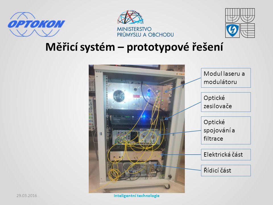 Měřicí systém – prototypové řešení 29.03.2016Inteligentní technologie Modul laseru a modulátoru Optické zesilovače Optické spojování a filtrace Elektrická část Řídicí část