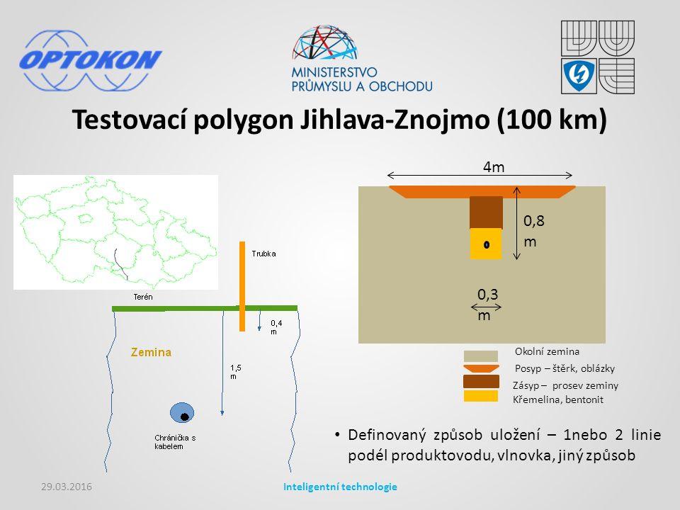 Testovací polygon Jihlava-Znojmo (100 km) 29.03.2016Inteligentní technologie Okolní zemina Posyp – štěrk, oblázky Zásyp – prosev zeminy Křemelina, bentonit 4m 0,8 m 0,3 m Definovaný způsob uložení – 1nebo 2 linie podél produktovodu, vlnovka, jiný způsob