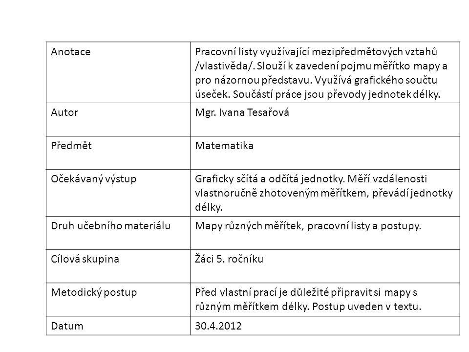 AnotacePracovní listy využívající mezipředmětových vztahů /vlastivěda/. Slouží k zavedení pojmu měřítko mapy a pro názornou představu. Využívá grafick