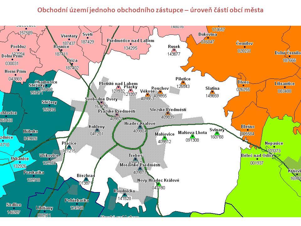 Obchodní území jednoho obchodního zástupce – úroveň částí obcí města