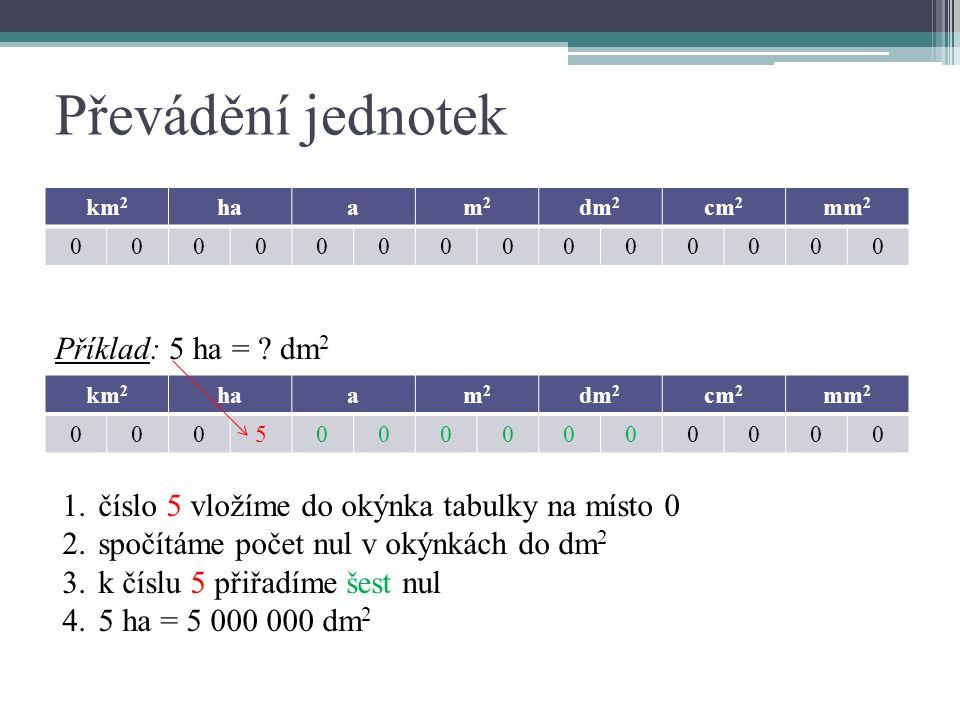 Převádění jednotek km 2 haam2m2 dm 2 cm 2 mm 2 00000000000000 Příklad: 5 ha = .