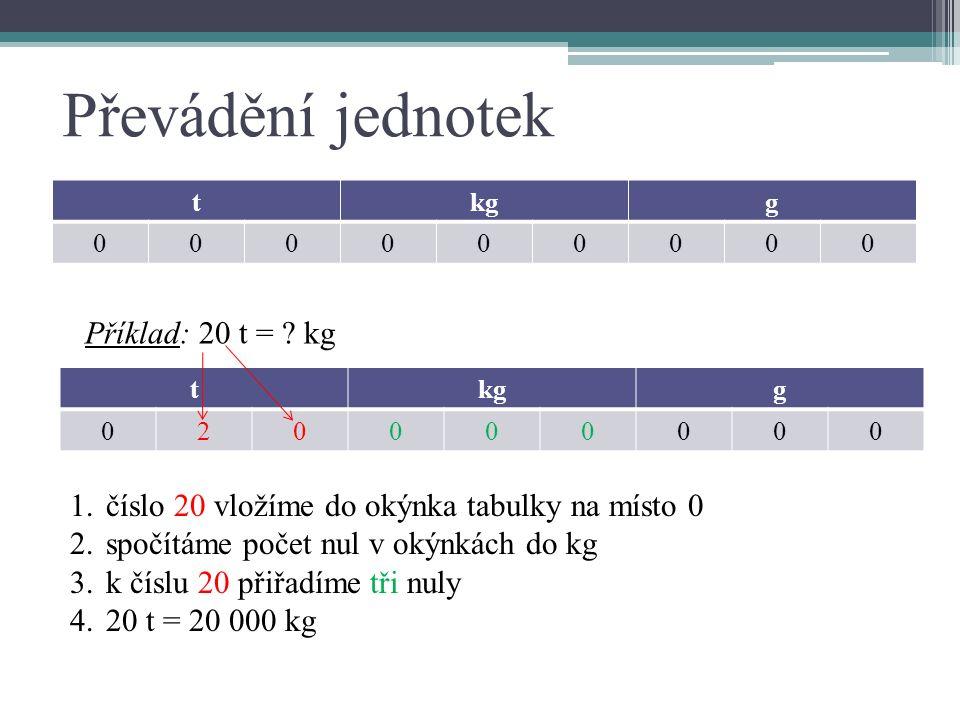 Převádění jednotek tkgg 000000000 Příklad: 20 t = .