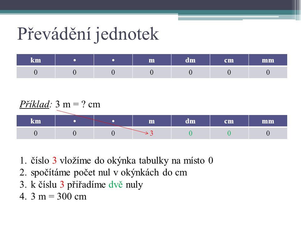 Převádění jednotek kmmdmcmmm 0000000 kmmdmcmmm 0003000 Příklad: 3 m = .