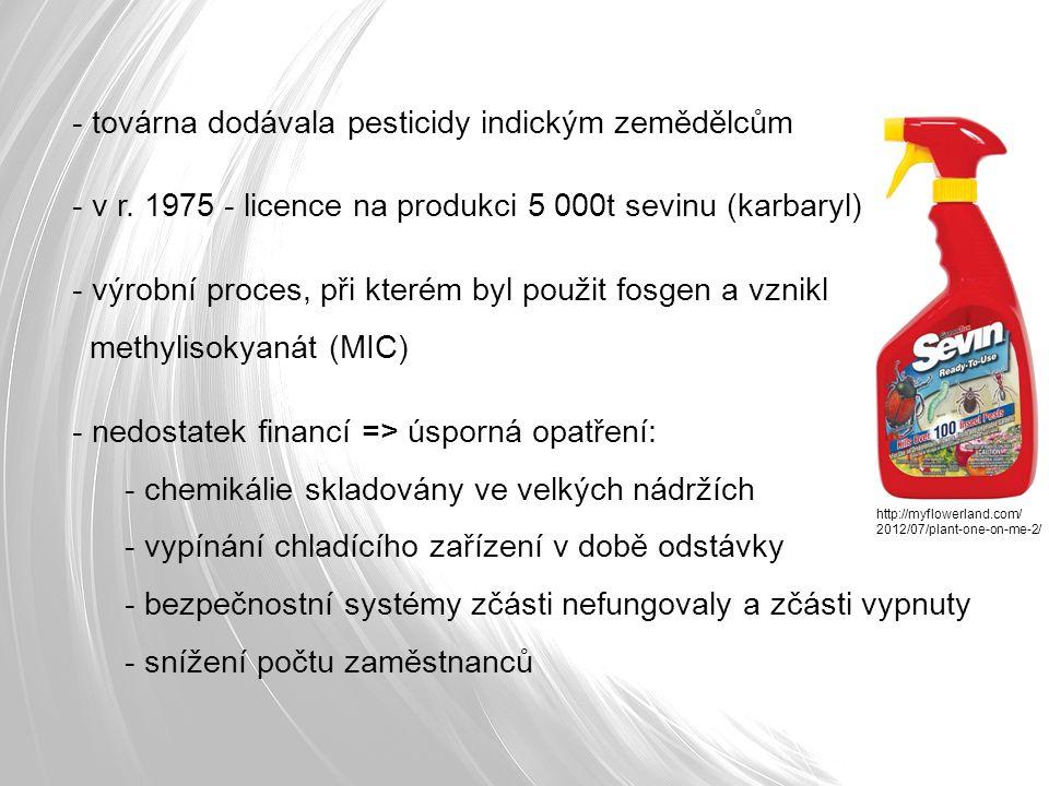 - továrna dodávala pesticidy indickým zemědělcům - v r.