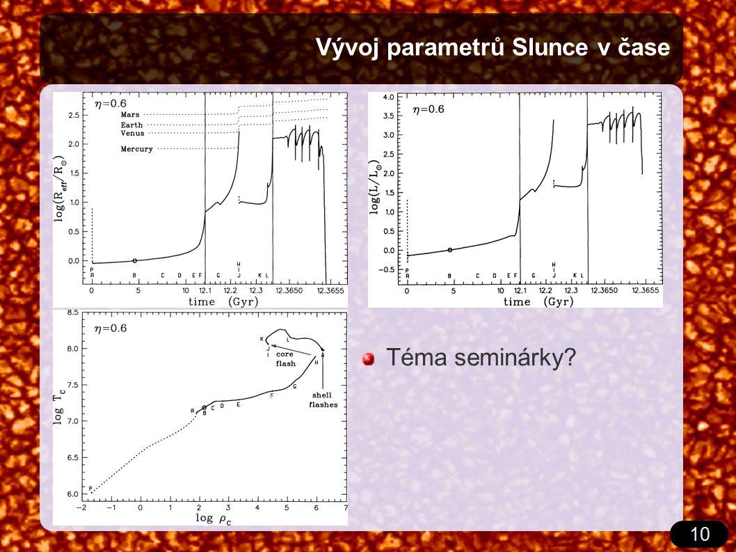 10 Vývoj parametrů Slunce v čase Téma seminárky