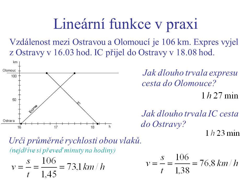 Lineární funkce v praxi Vzdálenost mezi Ostravou a Olomoucí je 106 km.