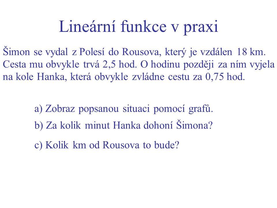 Lineární funkce v praxi Šimon se vydal z Polesí do Rousova, který je vzdálen 18 km.